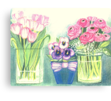 SPRINGTIME FLOWERS - TULIPS - PANSIES - BUTTER CUPS - Pastel -and Colour Pencil-Desing Canvas Print
