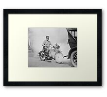 Motorcycle Policeman on Duty, 1923 Framed Print