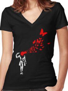 Banksy Butterfly Girl Women's Fitted V-Neck T-Shirt