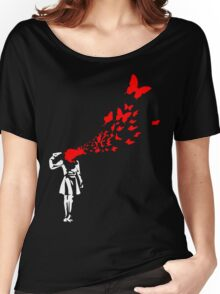 Banksy Butterfly Girl Women's Relaxed Fit T-Shirt
