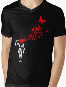 Banksy Butterfly Girl Mens V-Neck T-Shirt