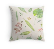 Leaf study watercolor Throw Pillow