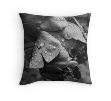 Vintage black and white Peony Throw Pillow