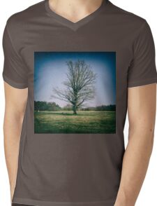 Lone oak tree in a field Mens V-Neck T-Shirt