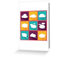 speech clouds, bubbles in flat design with shadows Greeting Card