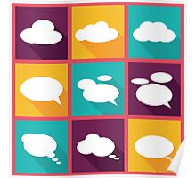 speech clouds, bubbles in flat design with shadows Poster
