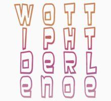 Lady Rainbow Text Tetris by WOTinc