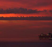 cruiser with sunset II - crucero con puesta del sol by Bernhard Matejka