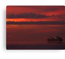 cruiser with sunset II - crucero con puesta del sol Canvas Print