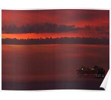 cruiser with sunset II - crucero con puesta del sol Poster