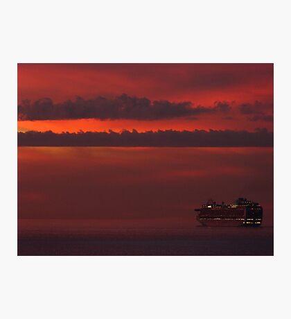 cruiser with sunset II - crucero con puesta del sol Photographic Print