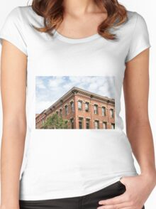 Old Brick Building and Sky Women's Fitted Scoop T-Shirt