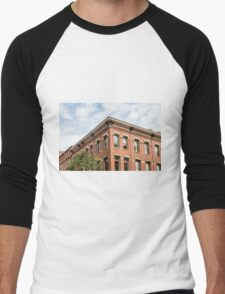 Old Brick Building and Sky Men's Baseball ¾ T-Shirt