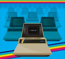 Personal computing in beige and blue by kitschstock