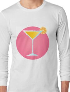 Pink cocktail in glass with orange and bubbles Long Sleeve T-Shirt