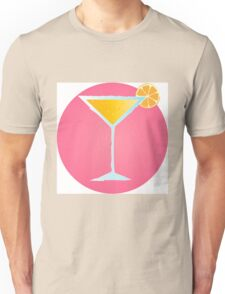 Pink cocktail in glass with orange and bubbles Unisex T-Shirt