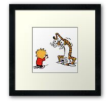 Calvin and Hobbes take a picture Framed Print