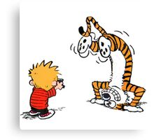 Calvin and Hobbes take a picture Canvas Print