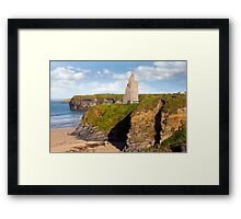 view of the  Ballybunion castle beach and cliffs Framed Print