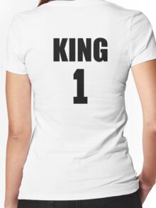 KING (Black) The His of The His and Hers couple shirts Women's Fitted V-Neck T-Shirt
