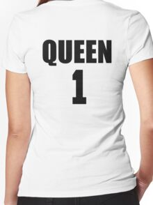 Queen (Black) The Hers of the His and Hers Women's Fitted V-Neck T-Shirt