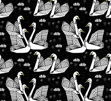 Origami Swans - White on Black by Andrea Lauren by Andrea Lauren