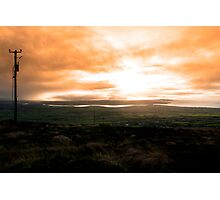 view of the Kerry coast with telegraph masts Photographic Print