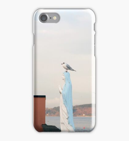 virgin Mary statue with a seagull iPhone Case/Skin