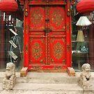Chinese red door by dominiquelandau