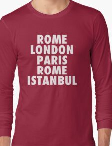 Liverpool Champions League Destinations. Long Sleeve T-Shirt