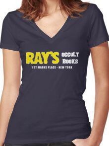 Rays Occult Books New York Women's Fitted V-Neck T-Shirt