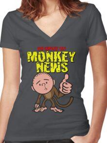 Karl Pilkington - Monkey News Women's Fitted V-Neck T-Shirt