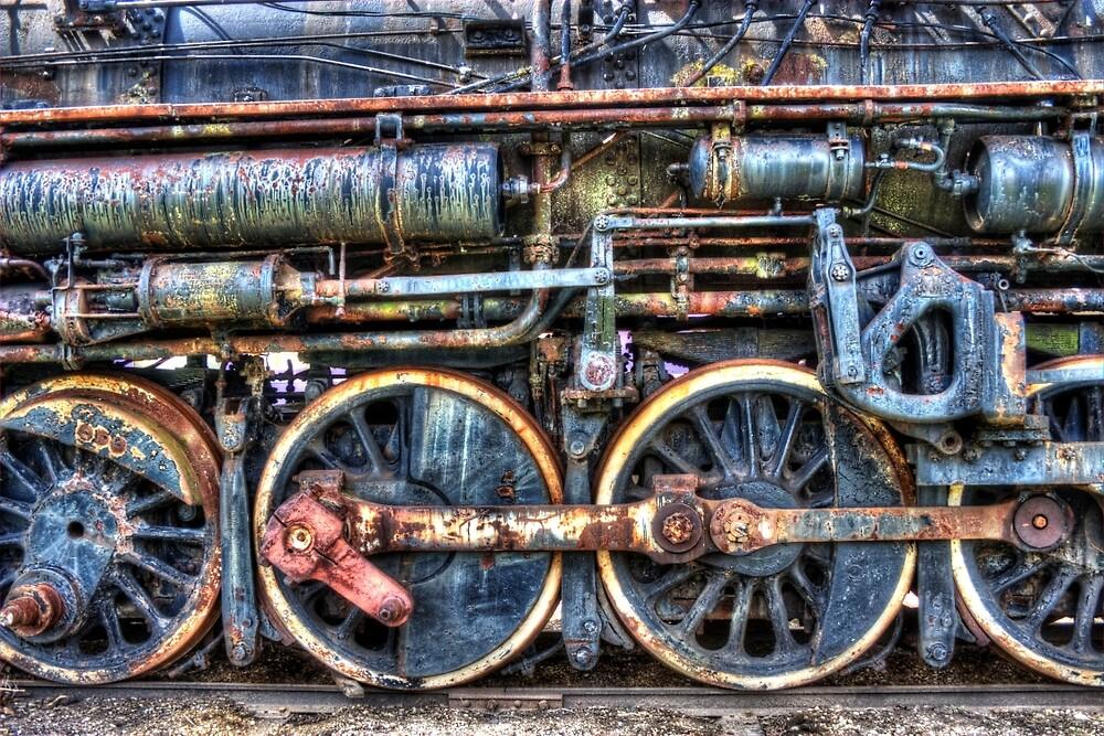Engine 8380 Drive Wheel Detail by Roger Passman