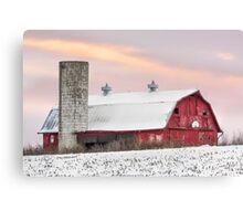 Winter Barn at Sundown Canvas Print