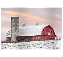 Winter Barn at Sundown Poster
