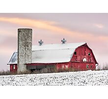 Winter Barn at Sundown Photographic Print