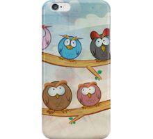 funny owl group cartoon on tree iPhone Case/Skin