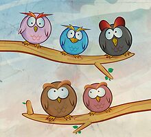 funny owl group cartoon on tree by Doomko