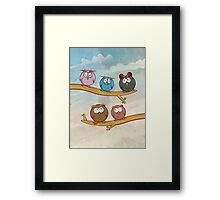 funny owl group cartoon on tree Framed Print