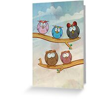 funny owl group cartoon on tree Greeting Card