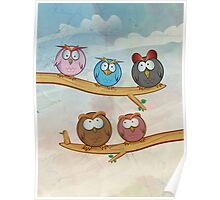 funny owl group cartoon on tree Poster