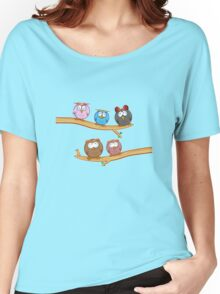 funny owl group cartoon on tree Women's Relaxed Fit T-Shirt