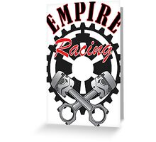 """Empire Racing"" Pistons and Gear Greeting Card"