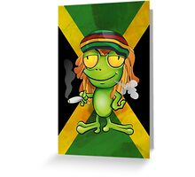 Rastafarian frog cartoon Greeting Card