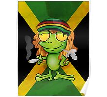 Rastafarian frog cartoon Poster
