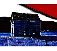 Penciled Blue Barn Photographic Print