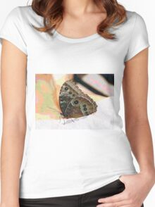 Butterfly Oil Pastel Women's Fitted Scoop T-Shirt
