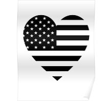 American Flag, BLACK Heart, Stars & Stripes, Pure & Simple, America, USA Poster