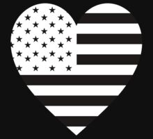 American Flag, REVERSE Heart on Black, Stars & Stripes, Pure & Simple, America, USA by TOM HILL - Designer