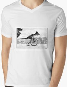 T-Rex on a Penny Farthing Mens V-Neck T-Shirt